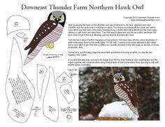 The Nomadic Northern Hawk Owl Felt Animal Patterns, Bird Patterns, Stuffed Animal Patterns, Bird Christmas Ornaments, Felt Ornaments, Fabric Birds, Felt Fabric, Bird Template, Fall Sewing