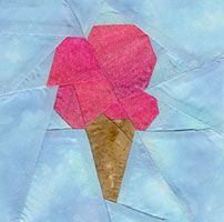 """Ice Cream cone block pattern from """"Baby's Favorites"""" book by Cynthia England."""