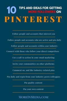 10 Tips and Ideas to get more followers on Pinterest