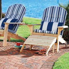 Wood Adirondack Chair & Ottoman