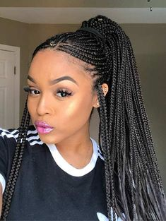 Braid hairstyles with weave that will turn heads braidedhair braidhairstyles braids big cornrows braids braid hairstyles with weave that will turn heads crazyforus teo braids with weave nail bracelet weave genuine leather Feed In Braids Ponytail, Head Braid, Braided Ponytail, Micro Braids, Bun Updo, Black Girl Braids, Girls Braids, Box Braids Hairstyles, Black Hairstyles