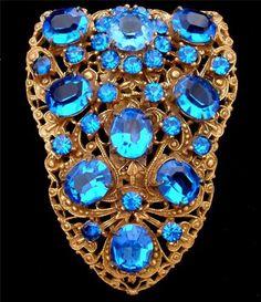 Large Sapphire Blue Rhinestone Gilded Filigree Dress Clip Vintage Estate | eBay