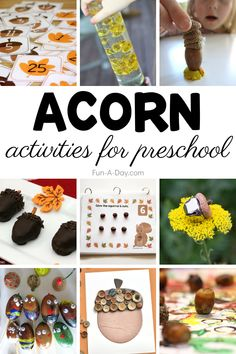 Little squirrels will have a blast with these acorn crafts, activities, and snacks. Great for a preschool acorn theme or just for some fun this fall. Autumn Activities For Kids, Spring Crafts For Kids, Creative Activities, Preschool Crafts, Fall Crafts, Preschool Activities, Multicultural Crafts, Monster Crafts, Acorn Crafts