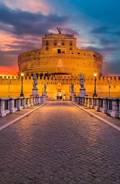 Saint Angel Bridge and Castle - Rome - Italy #romantictravelpictures #kissfromitaly