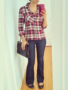 Pink Maroon Plaid Shirt Flared Jeans Quilted Black Bag | Ella Pretty Blog