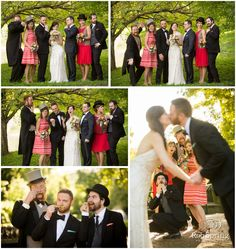 Fun bridal party photos, being silly, top hats. Congress Park, Saratoga Springs, NY