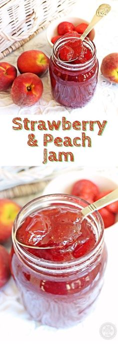 Best Jam and Jelly Recipes – Strawberry & Peach Jam – Homemade Recipe Ideas For Canning – Easy and Unique Jams and Jellies Made With … Fruit Jam, Ripe Fruit, Peach Fruit, Homemade Jelly, Homemade Recipe, Easy Jam Recipe, Jam And Jelly, How To Make Jam, Canning Recipes