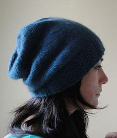 "Cafe Slouch Hat FREE knitting pattern- making this in Plymouth Encore Colorspun #7518 ""Jolly Rancher"" for The Girl."