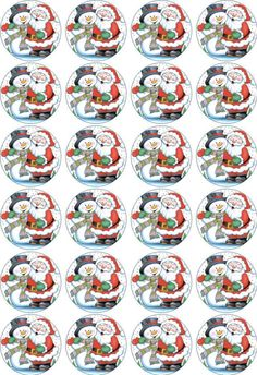 24 x 4.5cm CHRISTMAS SANTA & SNOWMAN EDIBLE RICE/WAFER PAPER CUPCAKE TOPPERS in Crafts, Cake Decorating | eBay