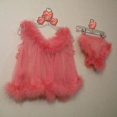 60s,Fantasy,Feathers,Baby,Doll,Set,Small,1960s, 60s, vintage, lingerie, babydoll, baby doll, set, Virginia Wallace, peach, sheer, feathers, double nylon, gusset, sexy, pin-up pin up