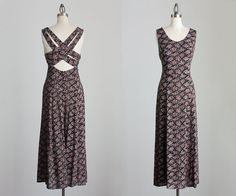 90s Vintage Floral Print Criss Cross Back Straps Maxi by decades, $48.00
