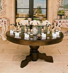 Guests created custom perfumes at a scent bar set up by Ka-Mil-Yin, a Los Angeles-based fragrance company that specializes in perfume parties, to take home as a favor from a bridal shower.  Photo: Elizabeth Messina