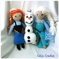 Crocheted Frozen Characters set of Three includes Anna Olaf and Elsa dolls on Etsy, $97.73