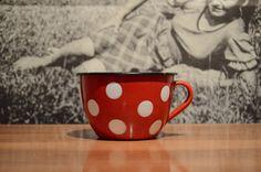 Vintage enamel red polka dot cup EMO Celje by Yugovicheva on Etsy