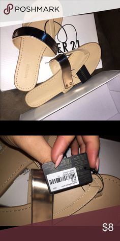 Forever 21 Nude Flip Flops Nude with metallic gold band, brand new ladies! Forever 21 Shoes Sandals