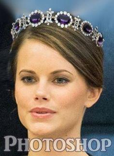 PHOTOSHOPPED Princess Sofia Hellqvist with the Swedish Amethyst tiara.