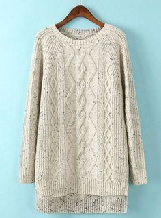 Fast Shipping Beige Long Sleeve Dipped Hem Cable Knit Sweater | Fashion4you - Clothing on ArtFire
