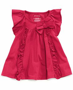 First Impressions Baby Girls' Ruffle Top - Kids Baby Girl months) - Macy's Girls Dresses Sewing, Little Girl Outfits, Toddler Girl Dresses, Kids Outfits, Kids Party Wear Dresses, Kids Dress Wear, Baby Frocks Designs, Kids Frocks Design, Baby Girl Dress Patterns