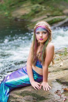 Mermaid Photoshoot Mermaid Costume Makeup, Mermaid Costume Kids, Mermaid Kids, Mermaid Makeup, The Little Mermaid, Mermaid Art, Mermaid Photo Shoot, Mermaid Photos, Girl Costumes