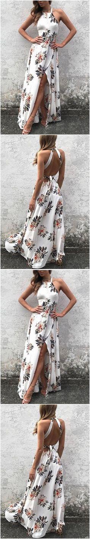 White Side Split Back Lace-up Random Floral Print Sleeveless Dress M1909#prom #promdress #promdresses #longpromdress #2018newfashion #newstyle #promgown #promgowns #formaldress #eveningdress #eveninggown #2019newpromdress #partydress #meetbeauty #white #sideslit #floralprint
