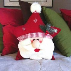 DIY Santa Claus Sewing Patterns and Ideas Christmas Sewing, Christmas Fabric, Christmas Pillow, Christmas Love, Christmas Holidays, Christmas Projects, Holiday Crafts, Xmas Ornaments, Christmas Decorations