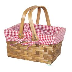 10.2 W x 7.7 D x 5.5 H Wooden Small Rectangular Basket Lined with Gingham Lining, Browns/Tans