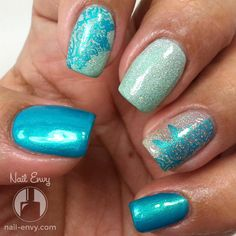 Aqua Holo Nails #nailenvy #blue #glittermani #nailart - bellashoot.com