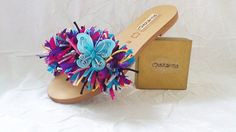 Ladies Fashion Multi Coloured Leather Sandals by CharismaJewellery