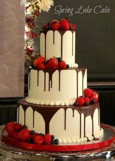White Chocolate Cake w/ Dark Chocolate Drizzle & Berries by babegotback