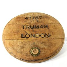 Antique Truman London beer barrel top cutting, cheese, bread board