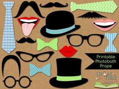 Photobooth Props PRINTABLE - Moustache, Lips, Glasses, Ties, Bow ties & Hats - INSTANT DOWNLOAD. $3.00, via Etsy.