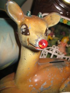 vintage Rudolph bank This is adorable!!!!!
