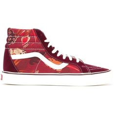 Vans Sk8-Hi Lite Sneakers ($94) ❤ liked on Polyvore featuring shoes, sneakers, red, red trainer, vans sneakers, red sneakers, red shoes and vans trainers