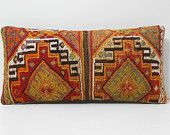 oversized pillow 12x24 decorative pillow set lumbar pillow kilim pillow lumbar needlepoint pillow DECOLIC tribal tapestry gold pattern 16406