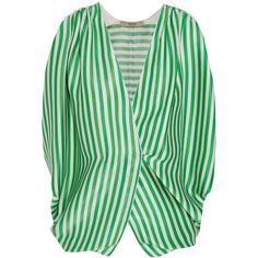Etro Wrap-effect striped ribbed silk top ($1,040) ❤ liked on Polyvore featuring tops, green, wrap around top, etro, green silk top, green top and etro tops