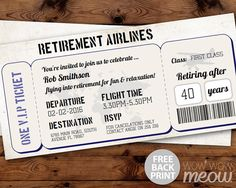 Retirement Ticket Invitation Retired Plane Invite by wowwowmeow