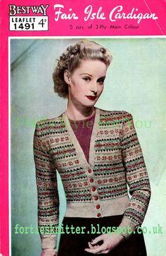 Knitting Patterns Vintage Style For You: Free Knitting Pattern - Fair Isle Cardigan - Bestway 1491 Fair Isle Knitting Patterns, Fair Isle Pattern, Knit Patterns, Vintage Knitting, Free Knitting, Vintage Magazine, Fair Isles, Crochet Cardigan Pattern, Mode Vintage