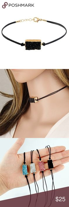 Black Druzy Genuine Choker Genuine Druzy Stone and Leather Cord Length: 12 Inch / Extendable up to 15 Inch Measurement of Pendant Due to the nature of the product, the shape, color or texture may vary. Jewelry Necklaces