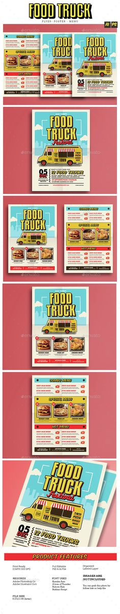 Pop Art Food Truck Flyer/Poster/Menu
