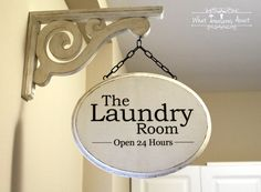Laundry room sign- Thrift Store Swap- What Treasures Await