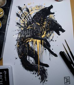 Dark Art Drawings, Cool Drawings, Tattoo Drawings, Wolf Tattoos, Body Art Tattoos, Monster Concept Art, Nordic Tattoo, Mythical Creatures Art, Dark Tattoo