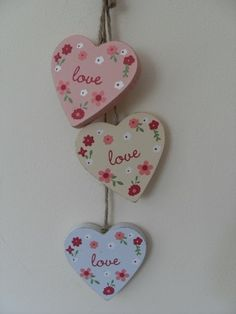 PINK YELLOW AND BLUE HANGING HEARTS WITH LOVE CHIC N SHABBY STYLE WALL DECOR