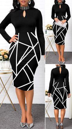 Keyhole Neckline Geometric Print Long Sleeve Dress - New Site Latest Dress For Women, Elegant Dresses For Women, Latest African Fashion Dresses, Elegant Dresses Classy, Pretty Dresses, Beautiful Dresses, Sexy Dresses, Cute Dress Outfits, Classy Work Outfits