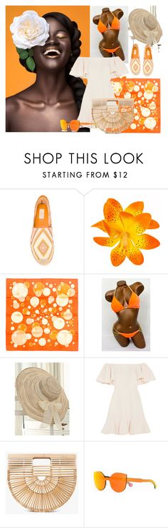 """""""beach time"""" by roushanbouzo ❤ liked on Polyvore featuring Valentino, Hermès, WithChic, Cult Gaia and RetroSuperFuture"""