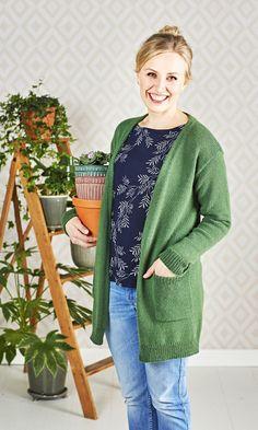 Neuletakki – katso ohje! | Meillä kotona Knit Crochet, Men Sweater, Diy Crafts, Sweaters, Cardigans, Jackets, Knitting Ideas, Patterns, Fashion