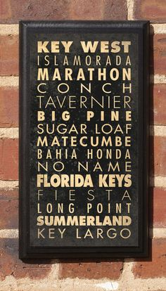 Items similar to Florida FL List of the Florida Keys Wall Art Sign Plaque Gift Present No Name Key West Marathon Fiesta Big Pine Conch Long Point Classic on Etsy Missouri, Ar Points, Basketball Wall, Wall Fans, Vintage Fashion, Vintage Style, House Rules, Florida Keys, Florida Fl