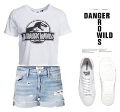 """""""#JurassicWorld"""" by missfashion11 ❤ liked on Polyvore featuring New Look, Frame Denim and Converse"""