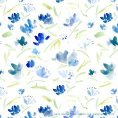 blue watercolor flower pattern