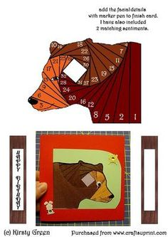 Iris Folding Bear Pattern on Craftsuprint designed by Kirsty Green - This is a great pattern for any occasion. I have attached my card example. - Now available for download!