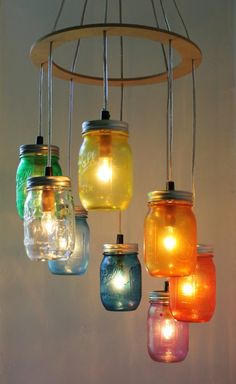 Valentines RAINBOW Heart Shaped Mason Jar Chandelier - Rustic Hanging Pendant Lighting Fixture - Direct Hardwire - BootsNGus Lamp Design. $215.00, via Etsy.